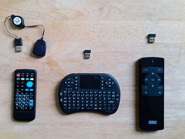 3 Presentation Remotes Atian USB PC Remote Control (left) | Rii i8 Mini 2.4GHz Wireless Touchpad Keyboard (center) | August PCR500 (right)