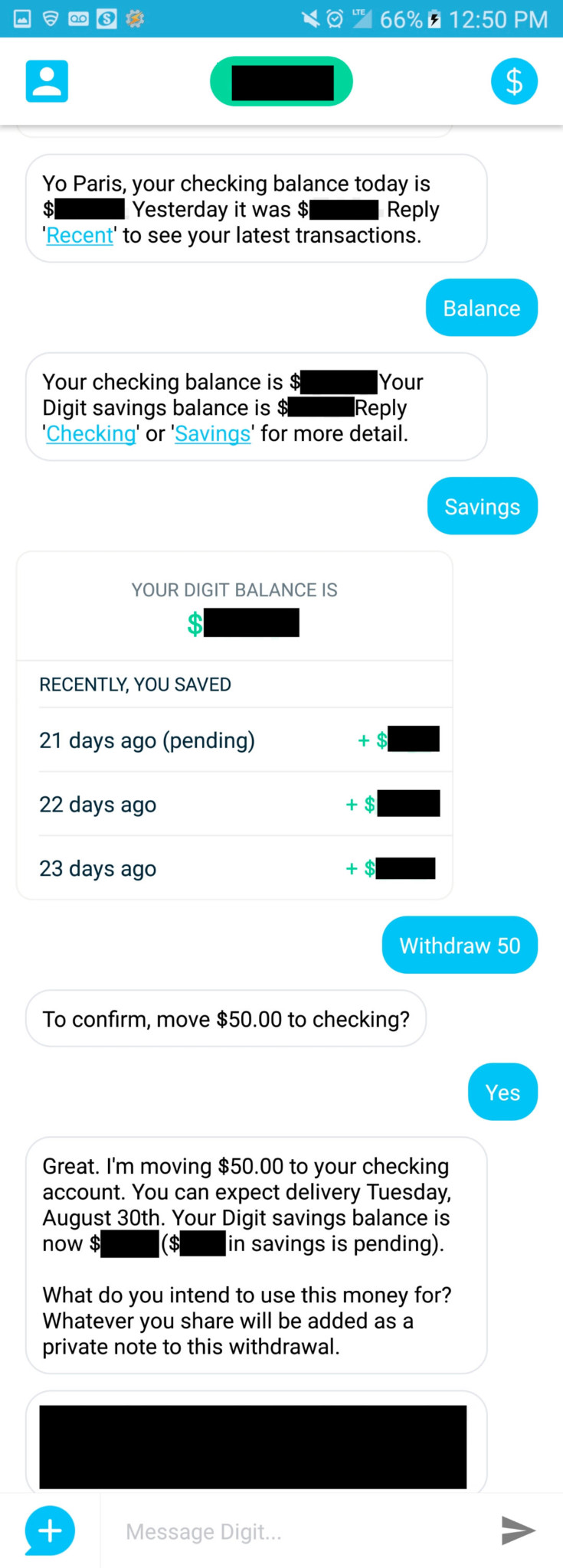 Withdrawing $50 through Digit's app digit vs qapital