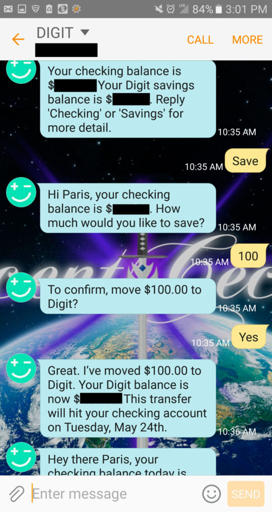 Saving $100 in Digit on SMS digit vs qapital